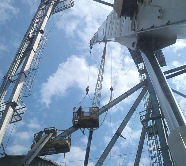 Cranes make aerial construction and maintenance safer.